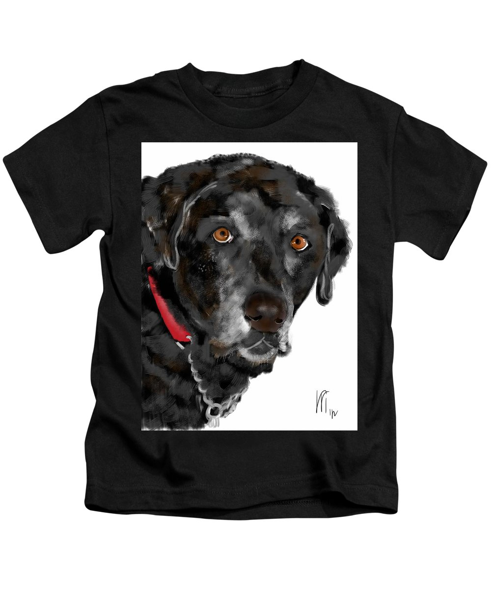 Black Lab Kids T-Shirt featuring the painting Black Lab Red Collar by Lois Ivancin Tavaf