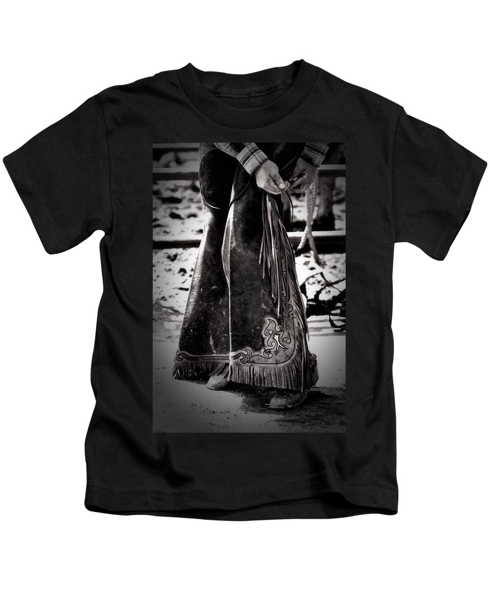 Chaps Kids T-Shirt featuring the photograph Black N White Chaps by Alice Gipson