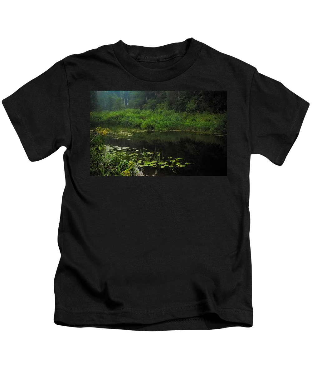 Nature Kids T-Shirt featuring the photograph Black Pond by Jenny Rainbow