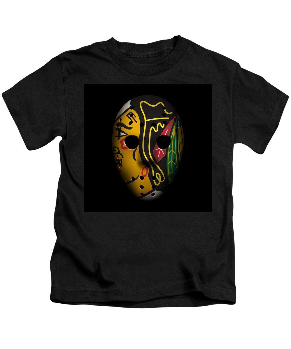Blackhawks Kids T-Shirt featuring the photograph Blackhawks Goalie Mask by Joe Hamilton
