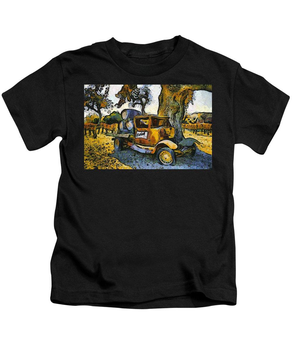 Barbara Snyder Kids T-Shirt featuring the digital art Blackjack Winery Truck Santa Ynez California by Barbara Snyder
