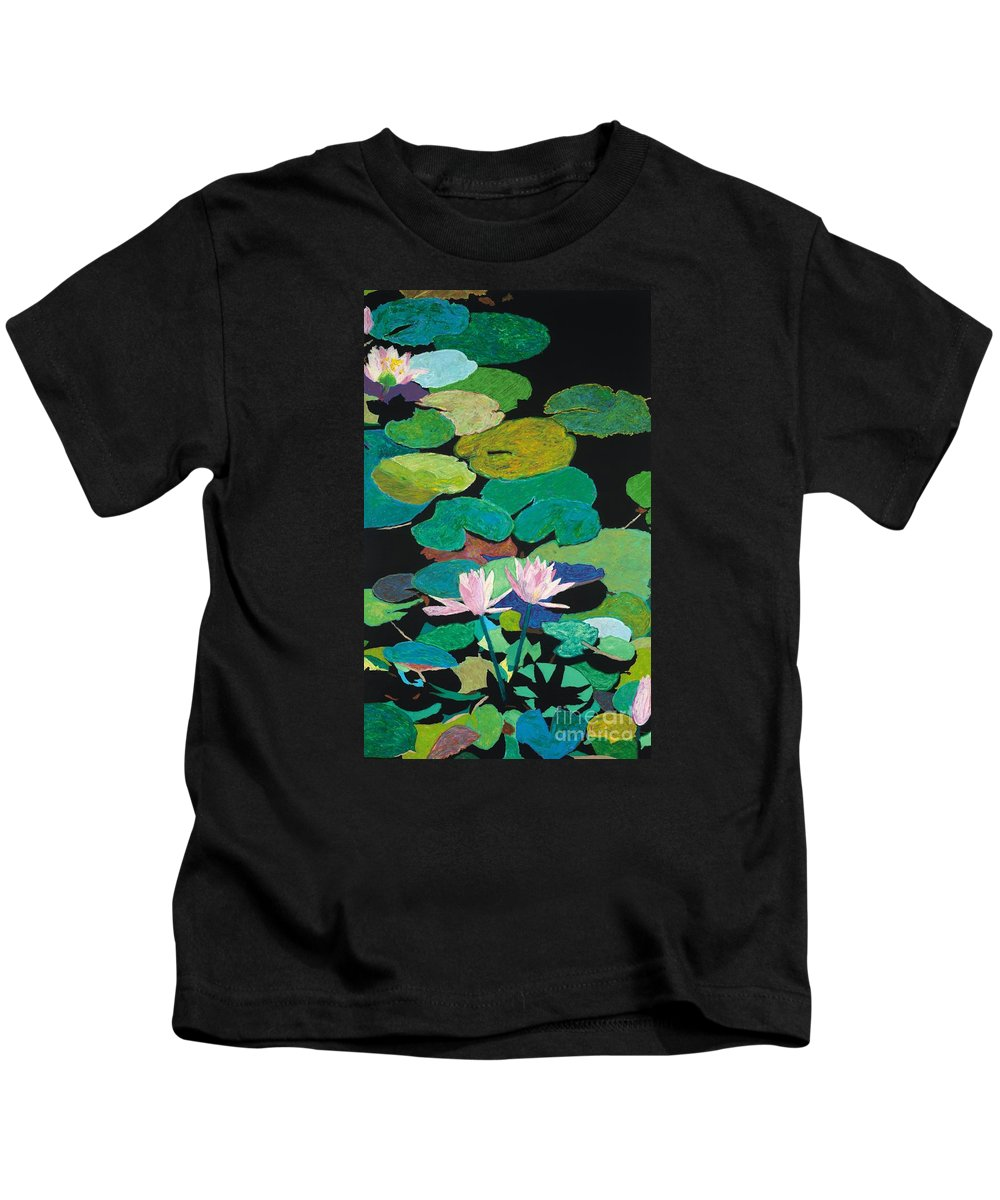 Landscape Kids T-Shirt featuring the painting Blairs Pond by Allan P Friedlander