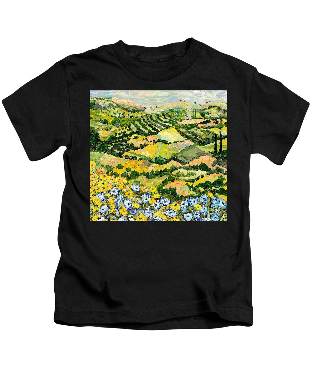 Landscape Kids T-Shirt featuring the painting Blue And Yellow by Allan P Friedlander