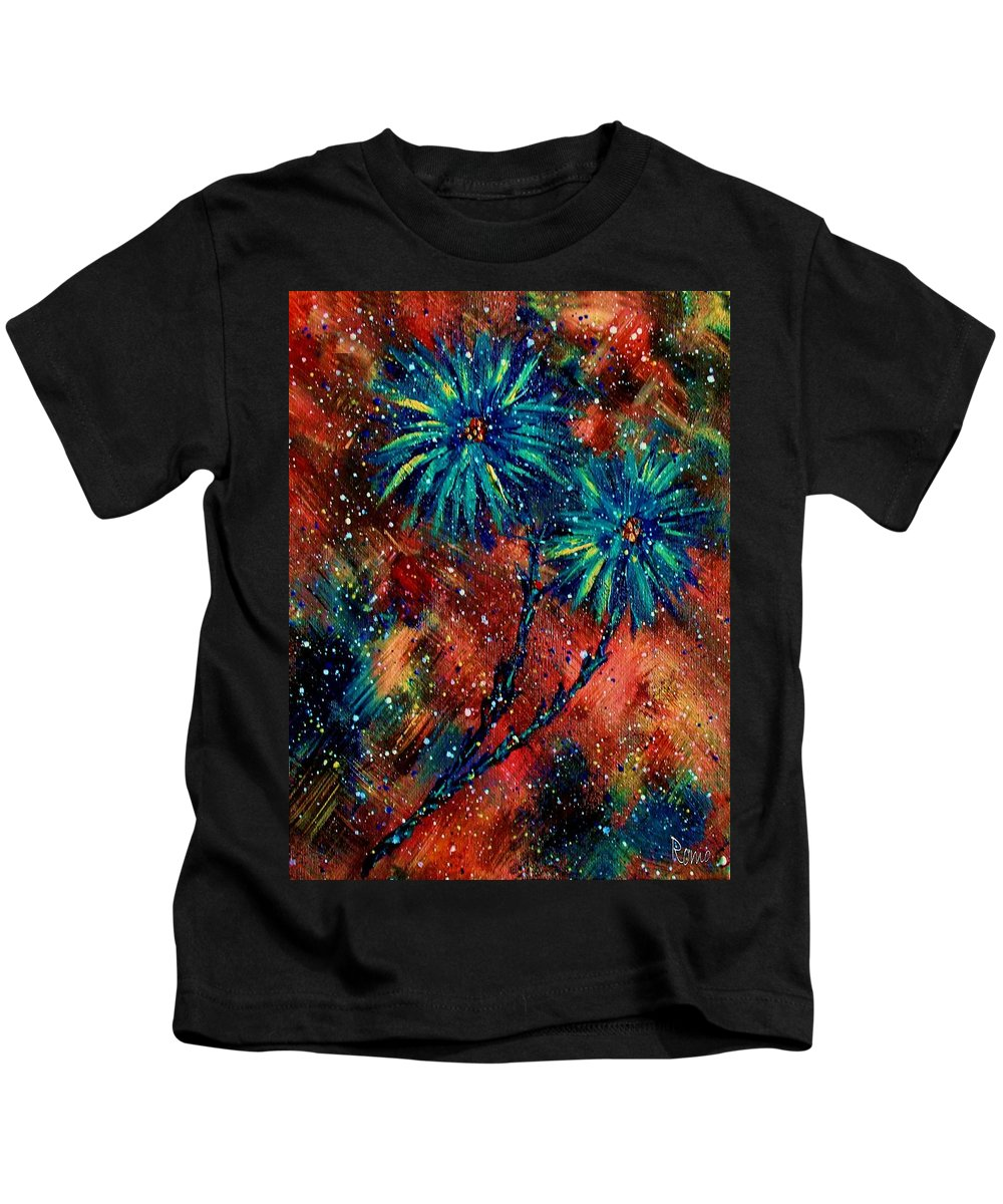 Flowers Kids T-Shirt featuring the painting Blue Asters by Robin Monroe