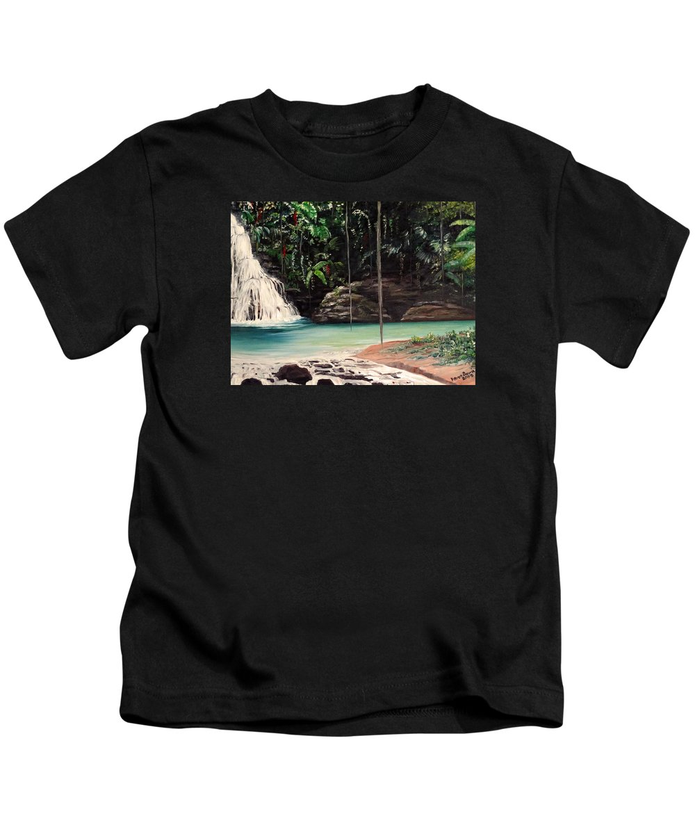 Tropical Waterfall Kids T-Shirt featuring the painting Blue Basin by Karin Dawn Kelshall- Best