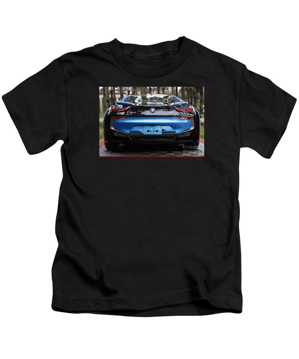 Bmw Kids T-Shirt featuring the photograph Blue Bmw I8 by Dennis Hedberg
