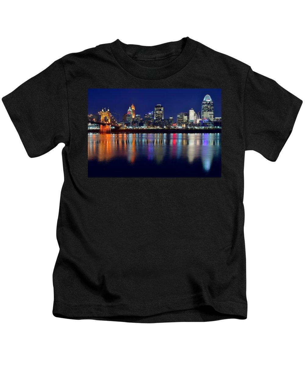 Cincinnati Kids T-Shirt featuring the photograph Blue Hour In Cincinnati by Frozen in Time Fine Art Photography