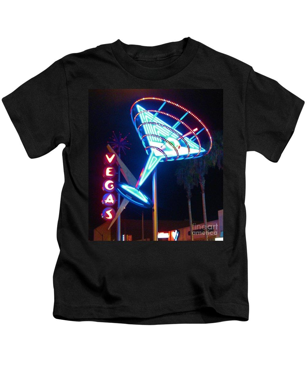 Las Vegas Kids T-Shirt featuring the photograph Blue Martini Glass Las Vegas by John Malone