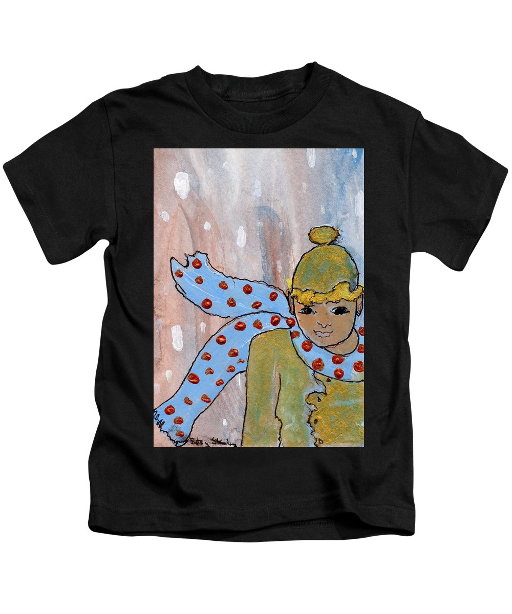 Blue Scarf Kids T-Shirt featuring the painting Blue Scarf by Patsy Stanley