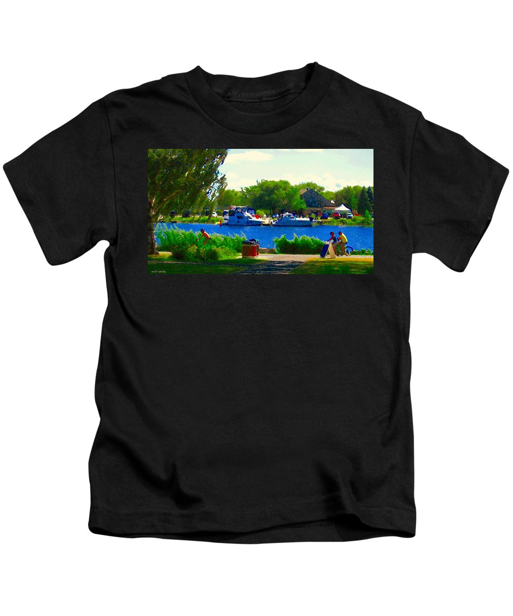 Montreal Kids T-Shirt featuring the painting Blue Skies Boats And Bikes Montreal Summer Scene The Lachine Canal Seascape Art Carole Spandau by Carole Spandau
