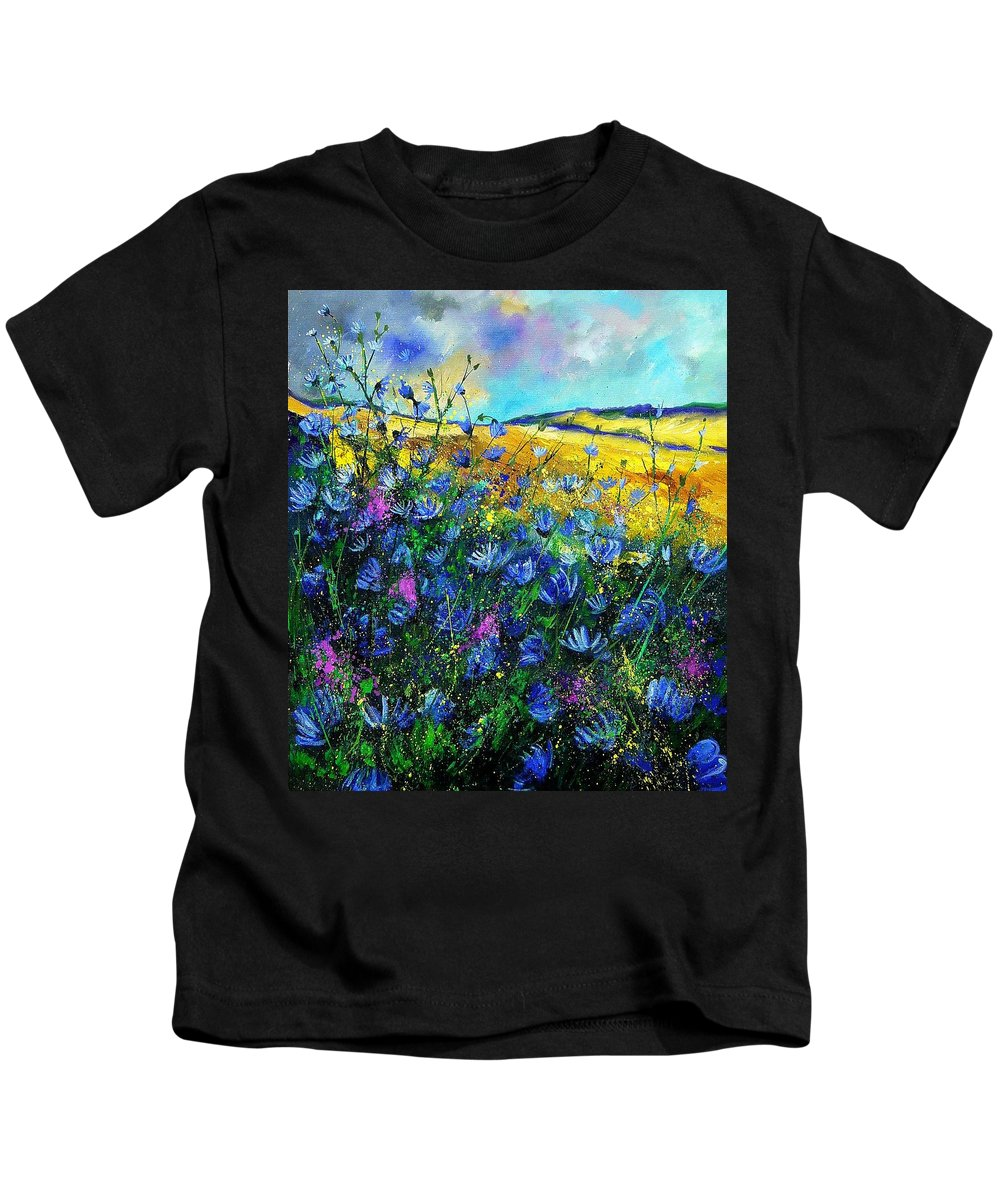 Flowers Kids T-Shirt featuring the painting Blue wild chicorees by Pol Ledent