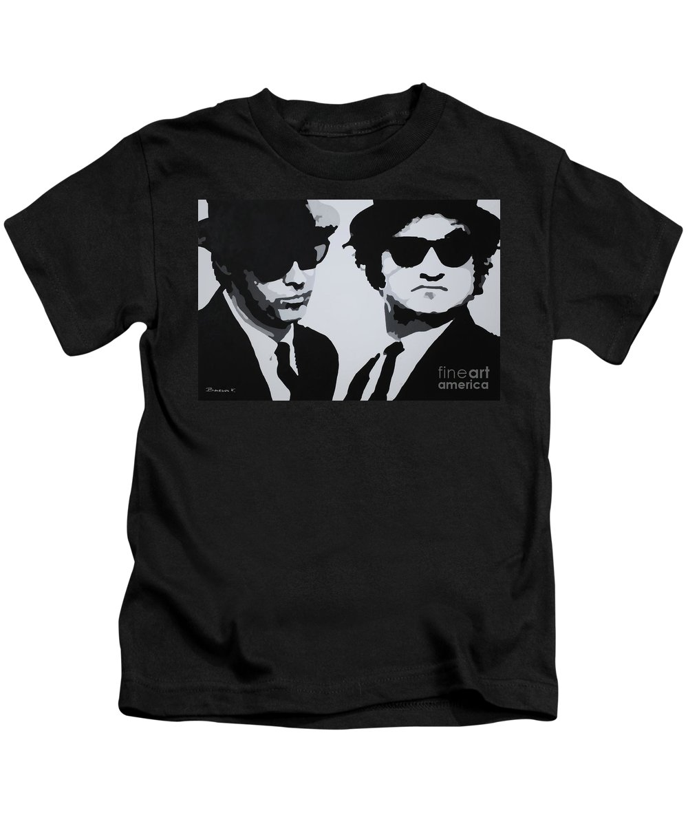 Blues Brothers Kids T-Shirt featuring the painting Blues Brothers by Katharina Filus