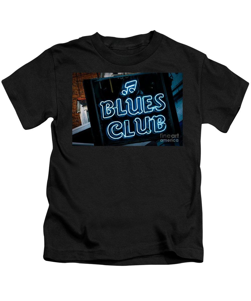 Sign Kids T-Shirt featuring the photograph Blues Club On Bourbon Street Nola by Kathleen K Parker