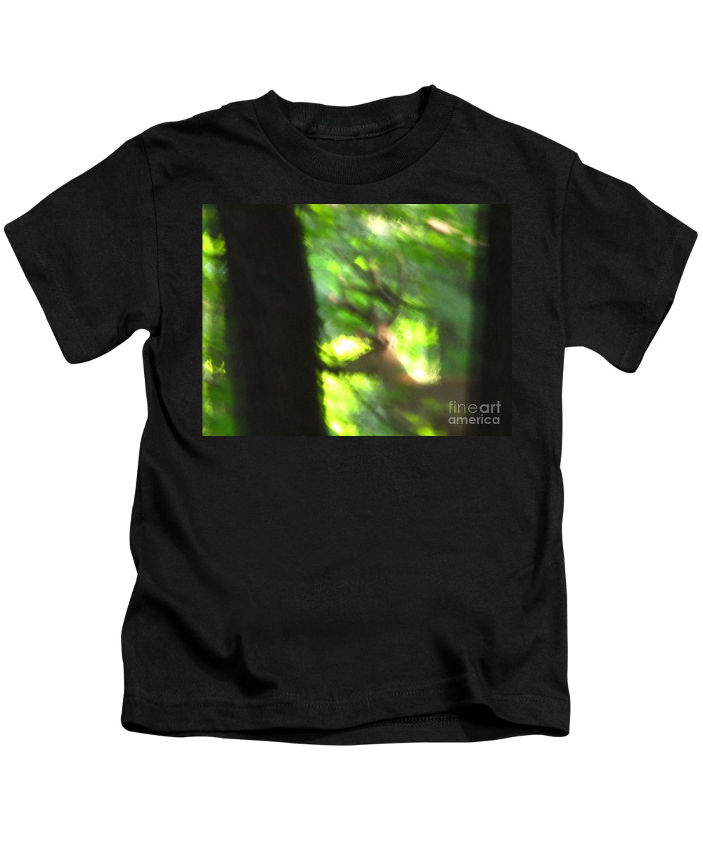 Male White Tailed Deer Images White Tailed Deer Buck Monster Buck Blurry Buck Mature Forest Buck Photographs Big Buck Images No Hunting Better Alive Preserve Mature Forest Habitat Huge Rack Images Big Rack Kids T-Shirt featuring the photograph Blurry Buck by Joshua Bales