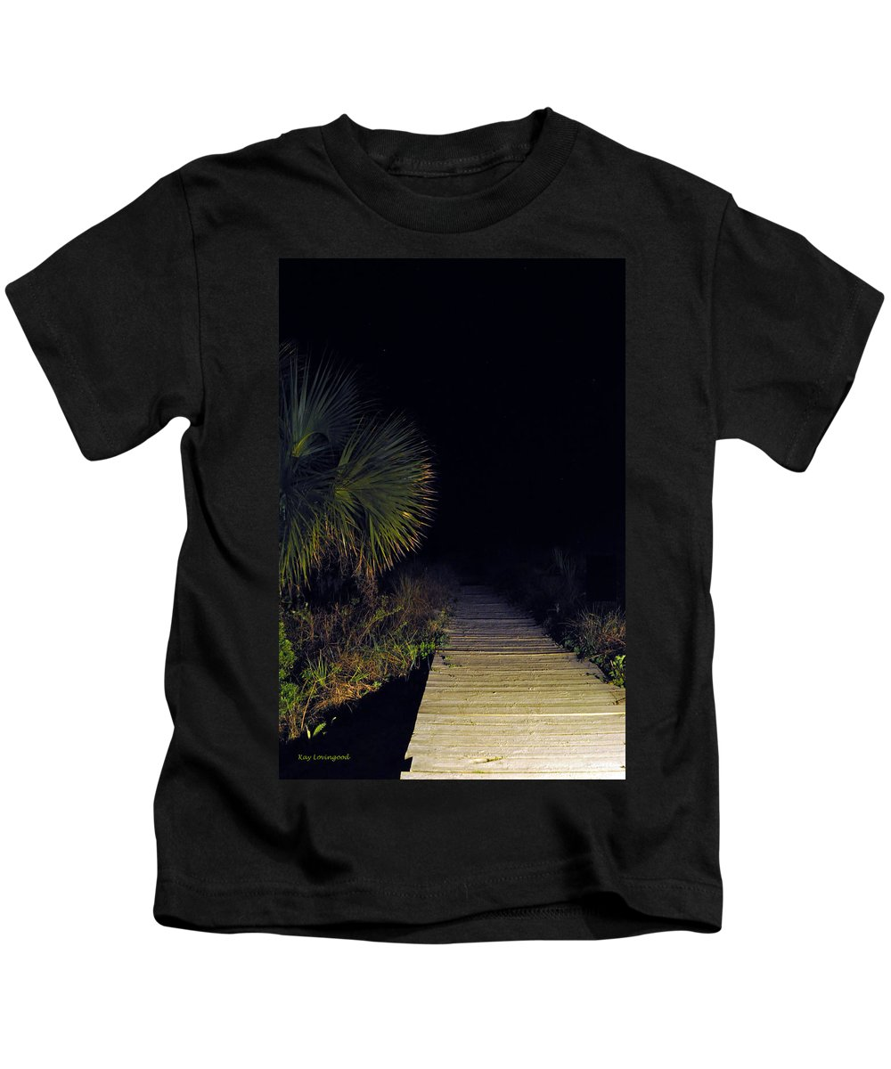 Beach Kids T-Shirt featuring the photograph Boardwalk At Night by Kay Lovingood