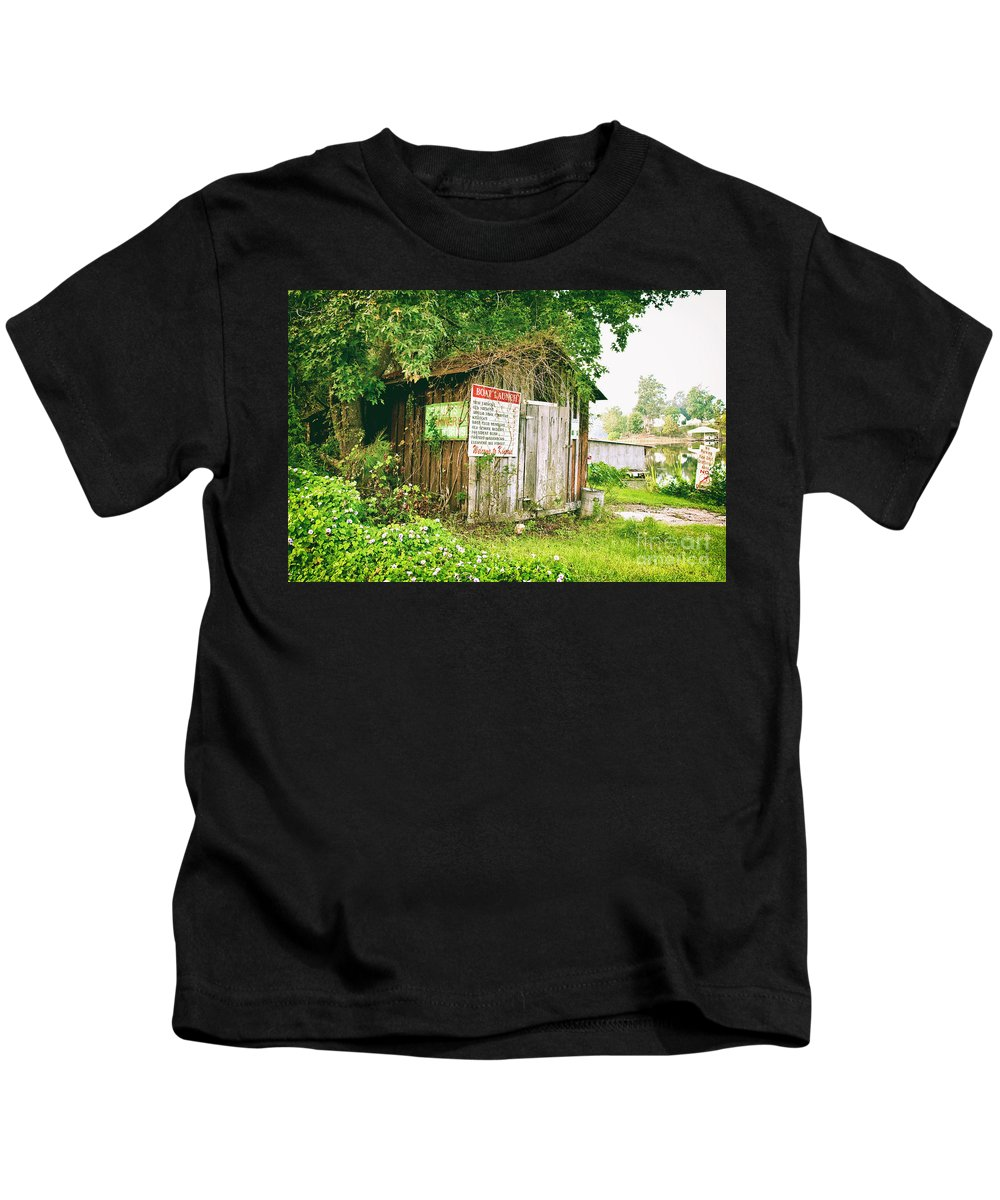 Outhouse Kids T-Shirt featuring the photograph Boat Launch Outhouse - Texture Bw by Scott Pellegrin