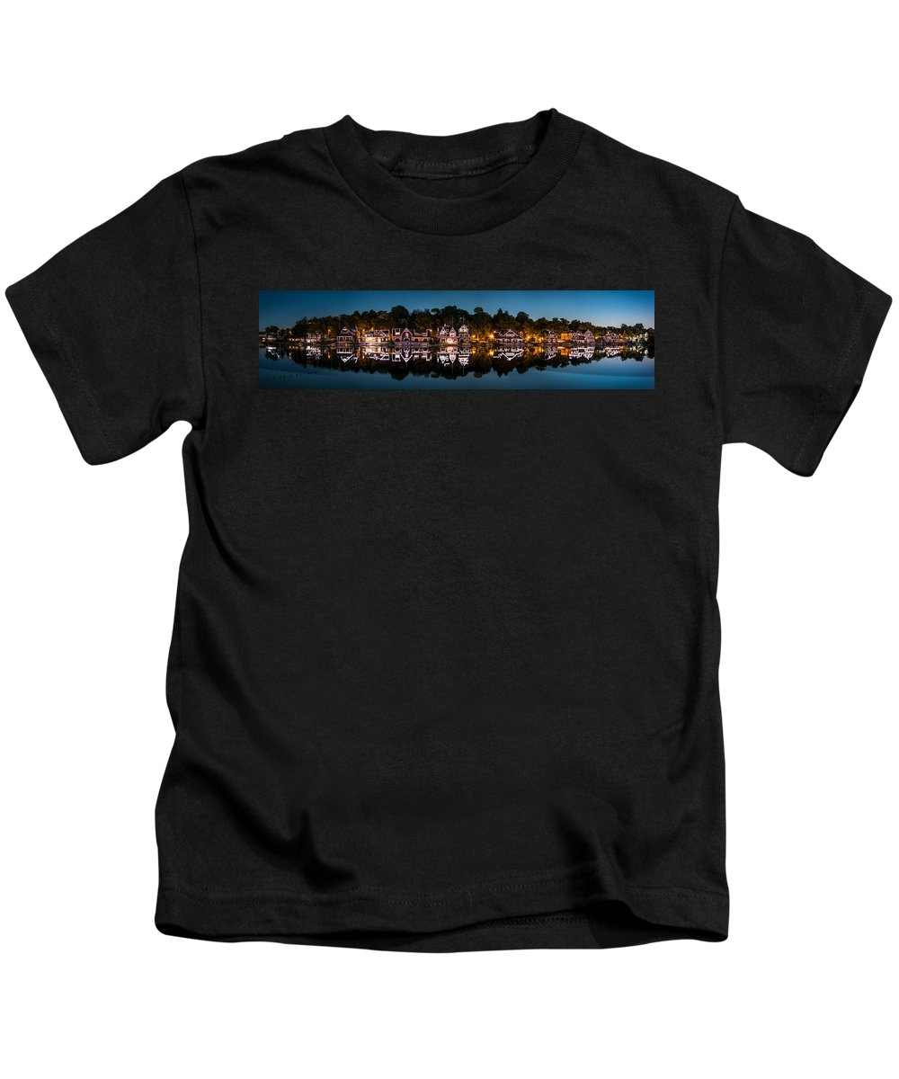 Pa Kids T-Shirt featuring the photograph Boathouse Row Panorama by Mihai Andritoiu