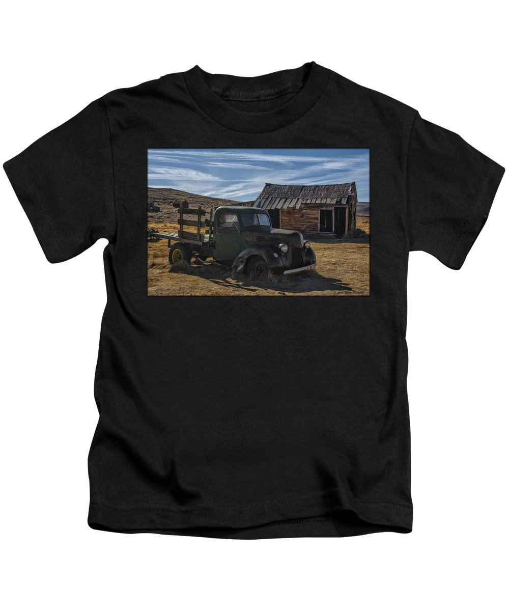 Ghosttown Kids T-Shirt featuring the photograph Bodie Abandoned Truck by Erika Fawcett