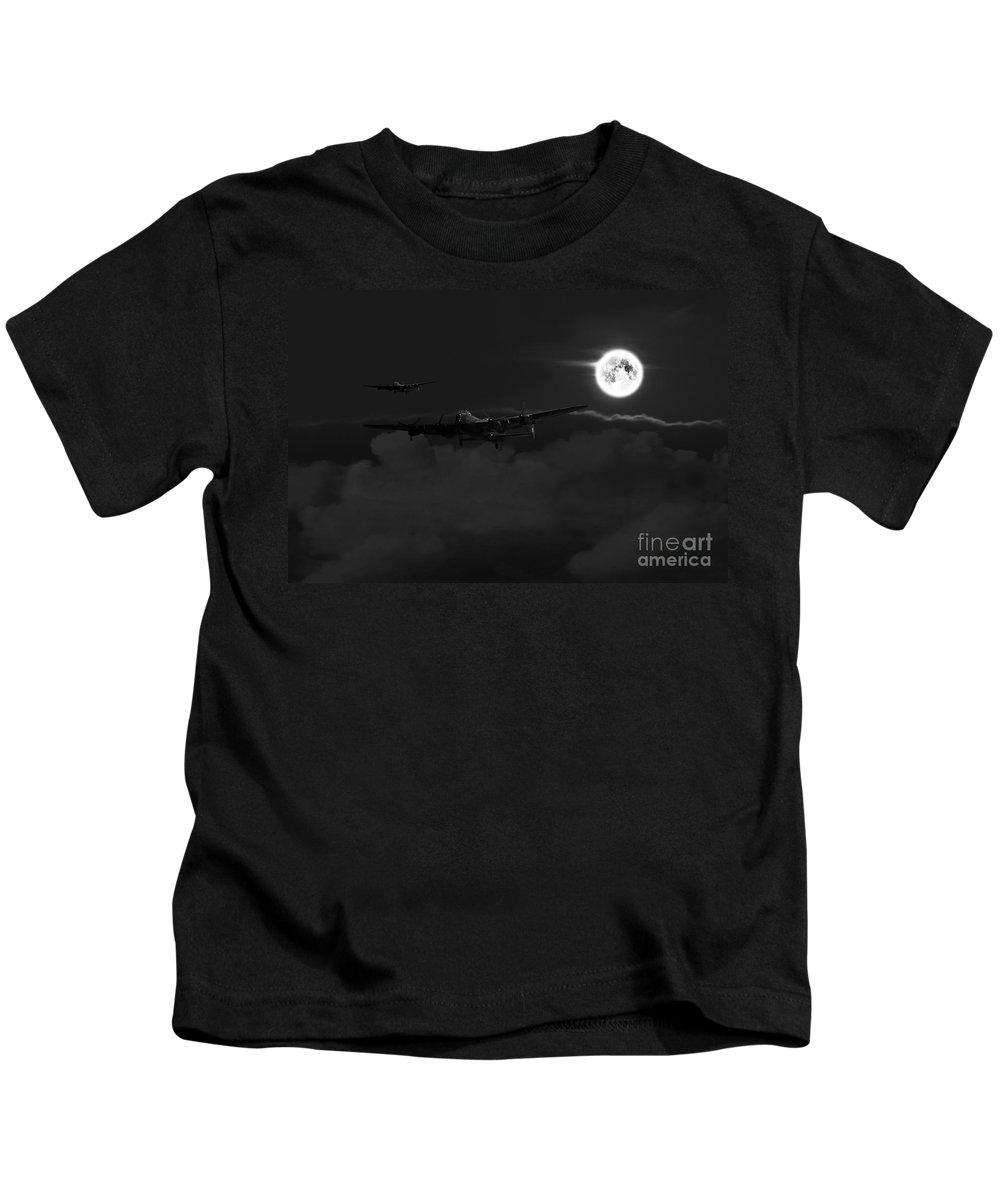 Lancaster Kids T-Shirt featuring the digital art Bombers Moon by J Biggadike