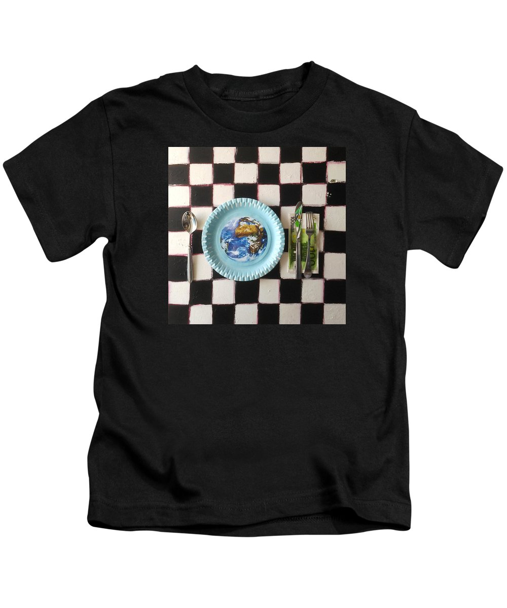 World Kids T-Shirt featuring the painting Bon Appetit by Veronika Ban