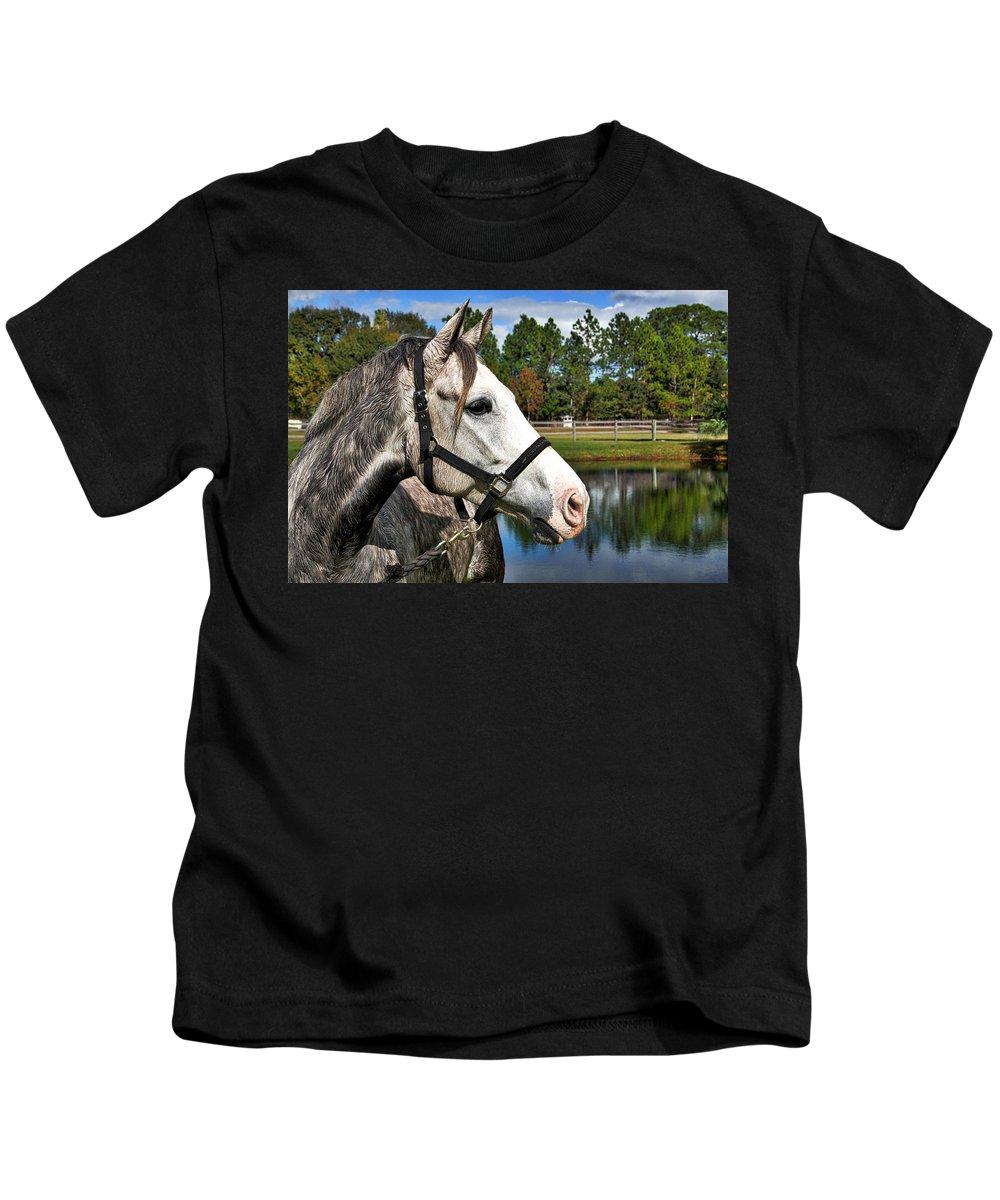Horse Kids T-Shirt featuring the photograph Bon Bon Deux by Alice Gipson