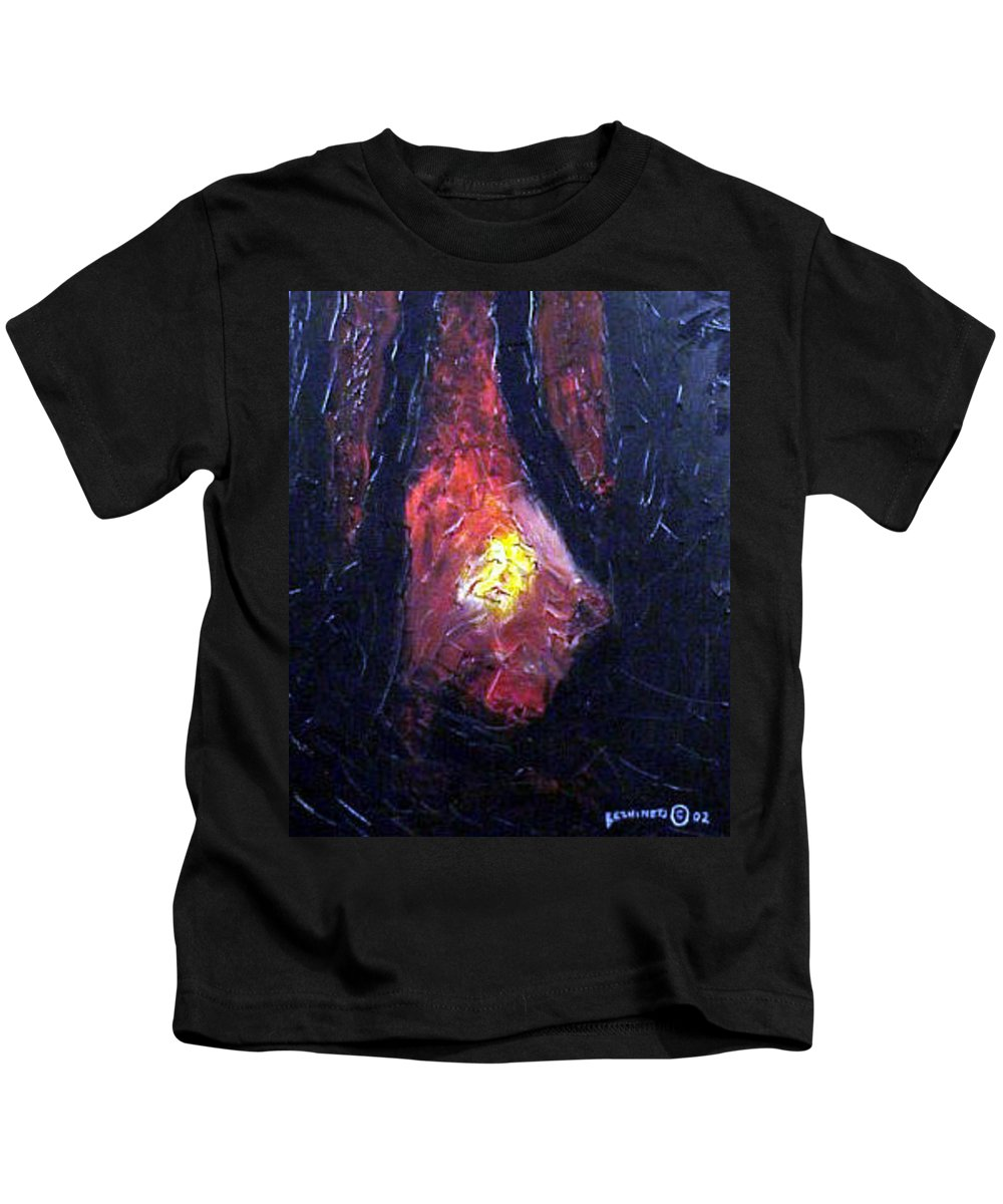Landscape Kids T-Shirt featuring the painting Bonefire by Sergey Bezhinets