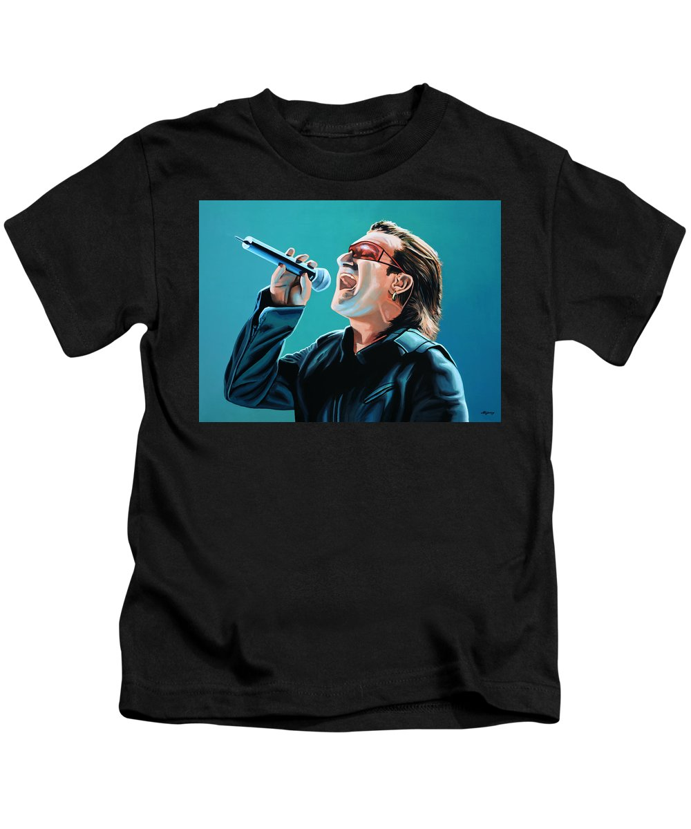 U2 Kids T-Shirt featuring the painting Bono Of U2 Painting by Paul Meijering