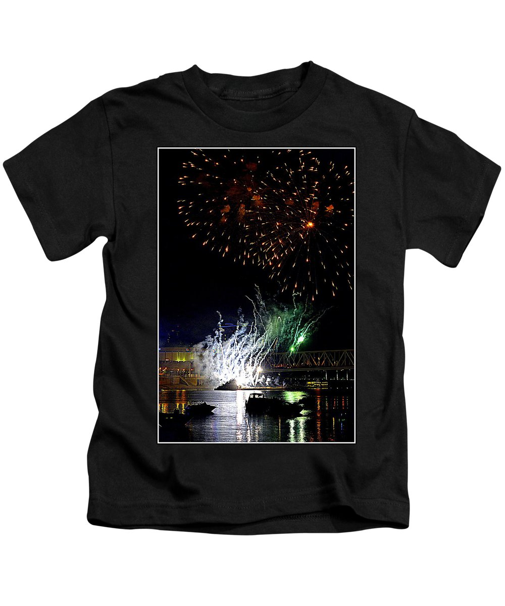 Fireworks Kids T-Shirt featuring the photograph Boom Boom Boom by Kathy Barney