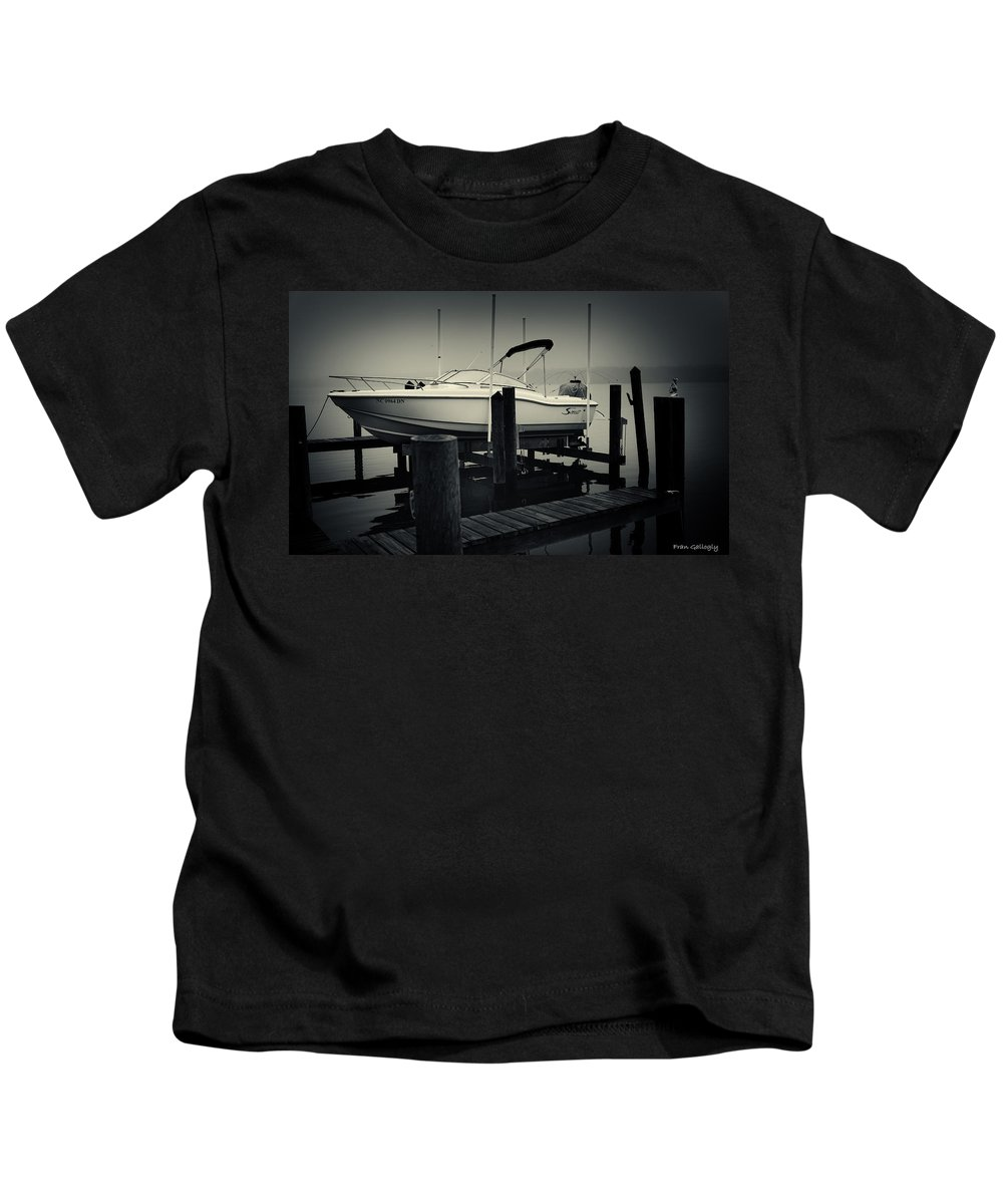 Boston Whaler Kids T-Shirt featuring the photograph Boston Whaler In The Fog by Fran Gallogly