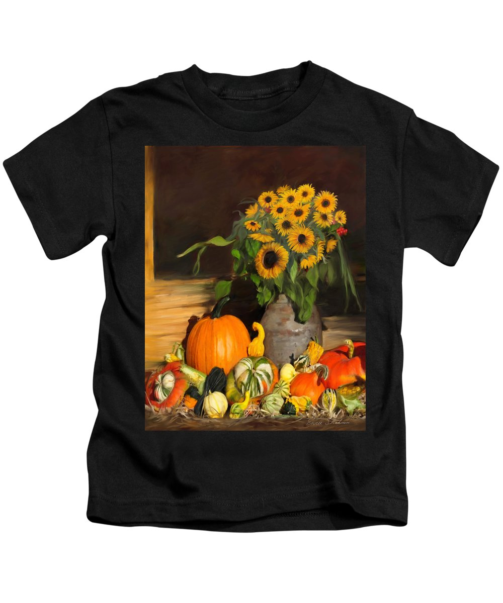 Floral Kids T-Shirt featuring the painting Bountiful Harvest - Floral Painting by Portraits By NC