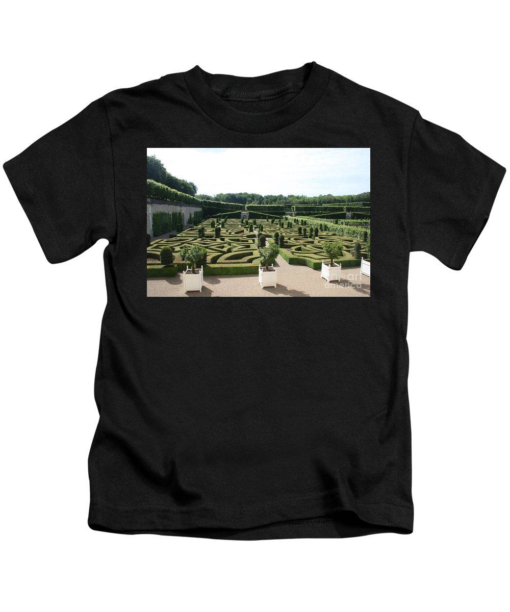 Garden Kids T-Shirt featuring the photograph Boxwood Garden Design - Chateau Villandry by Christiane Schulze Art And Photography
