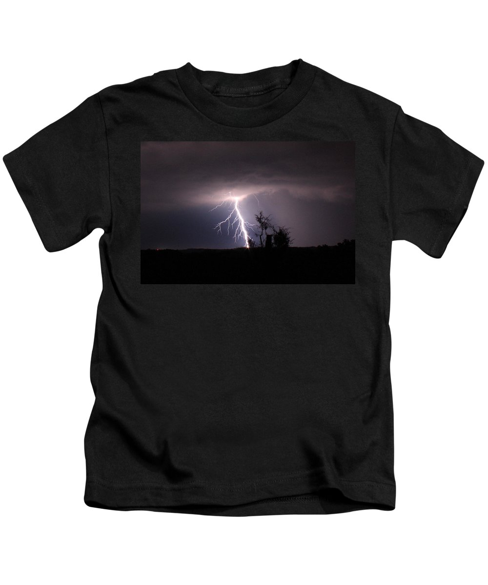 Lightning Kids T-Shirt featuring the photograph Break Out by Reid Callaway