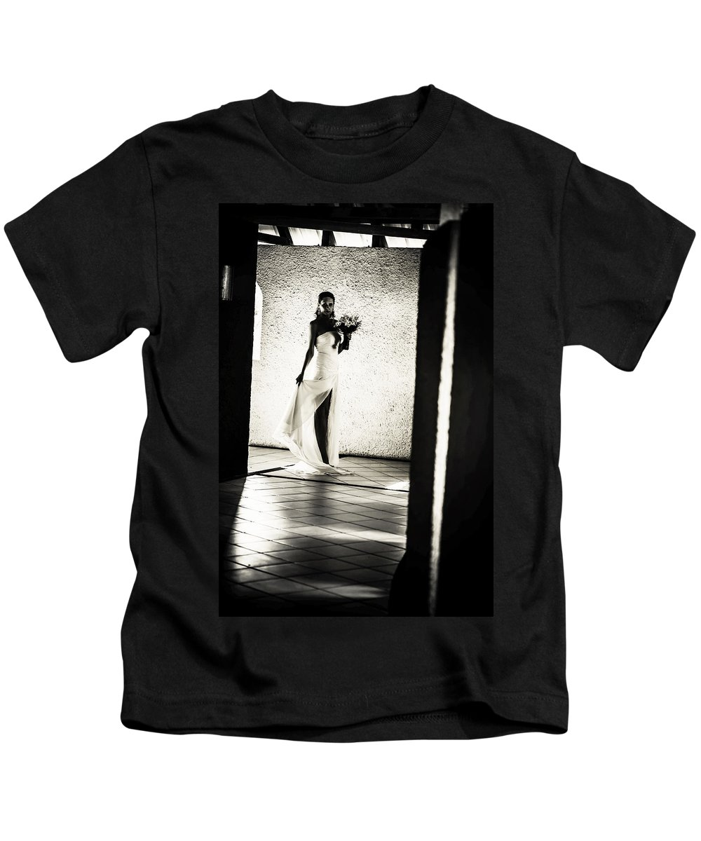 Marriage Kids T-Shirt featuring the photograph Bride. Black And White by Jenny Rainbow