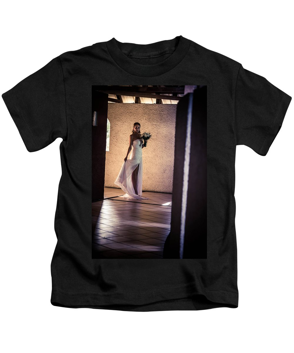 Marriage Kids T-Shirt featuring the photograph Bride. In Color by Jenny Rainbow