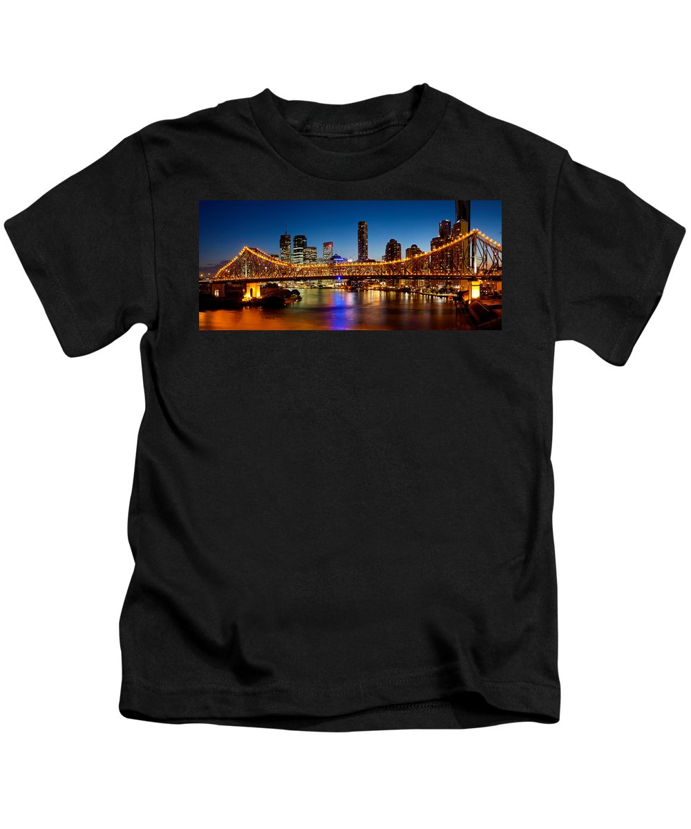 Photography Kids T-Shirt featuring the photograph Bridge Across A River, Story Bridge by Panoramic Images