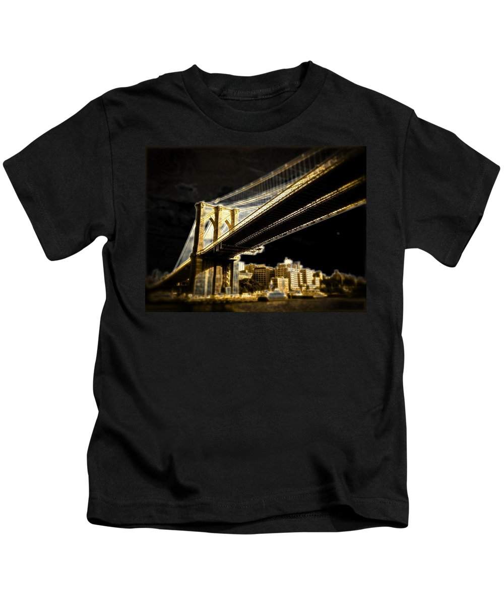 Kids T-Shirt featuring the photograph Bridge At Night by Gilda Parente