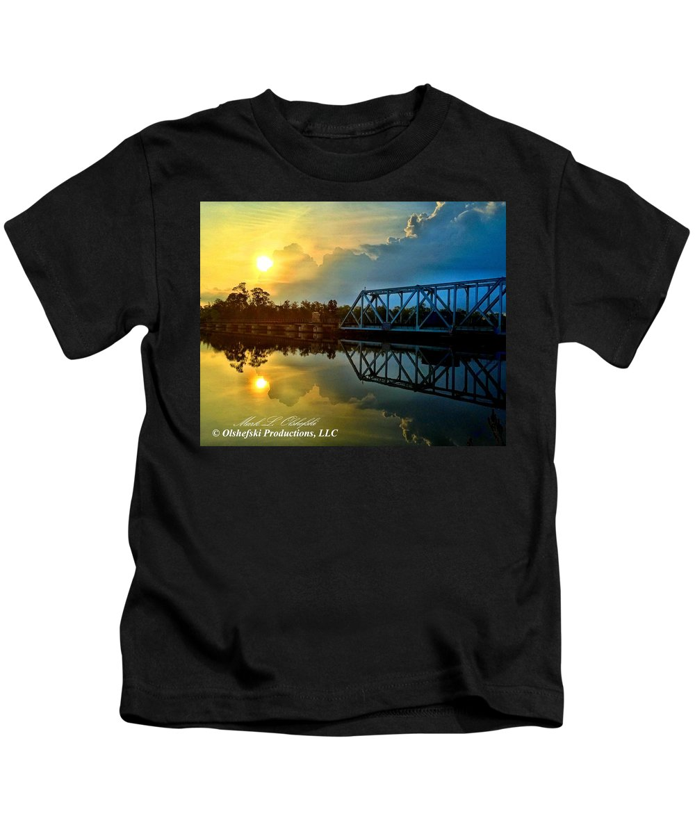 Milton Kids T-Shirt featuring the photograph Bridge Over Calm Waters by Mark Olshefski
