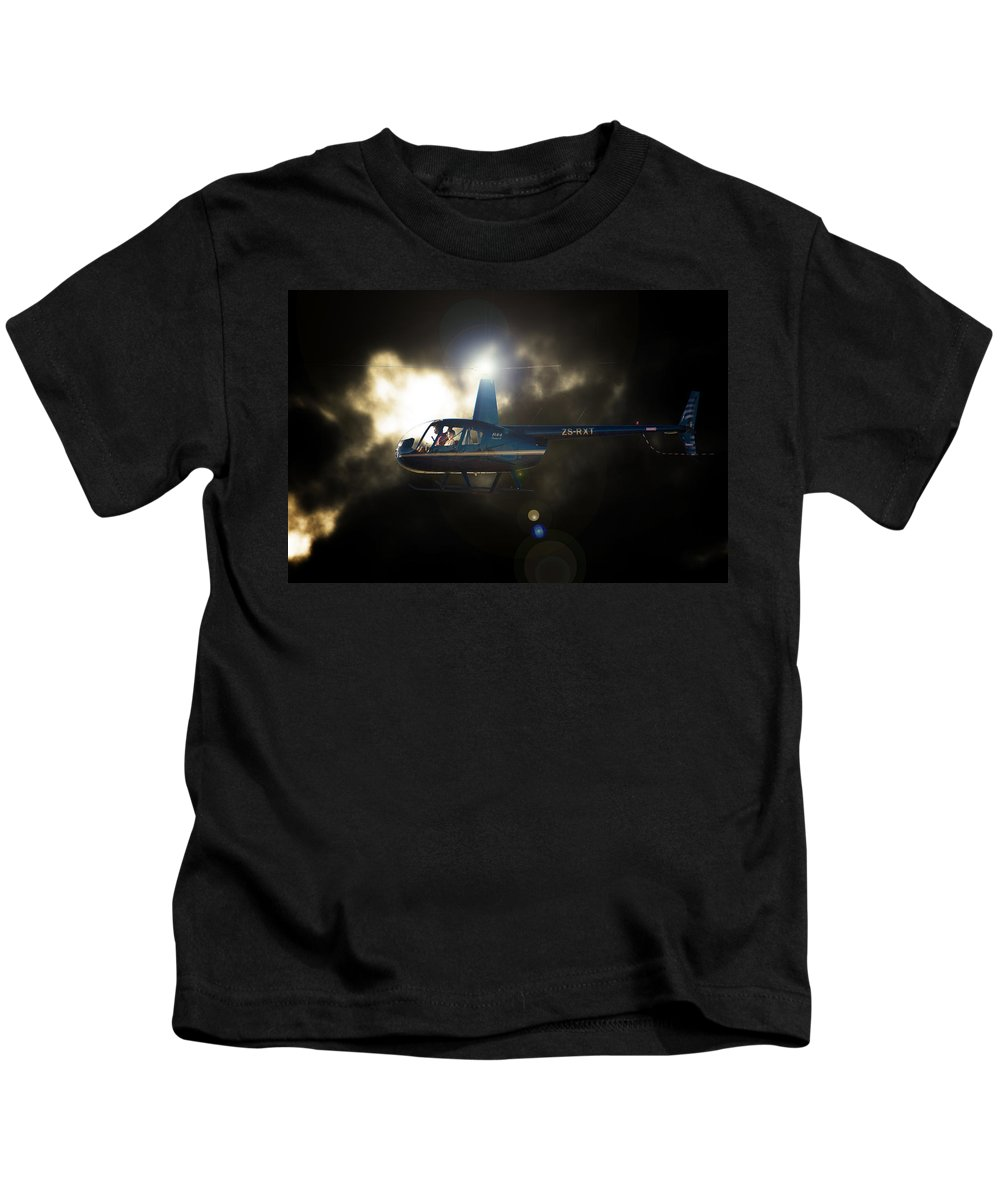 Robinson R44 Kids T-Shirt featuring the photograph Bright 44 by Paul Job