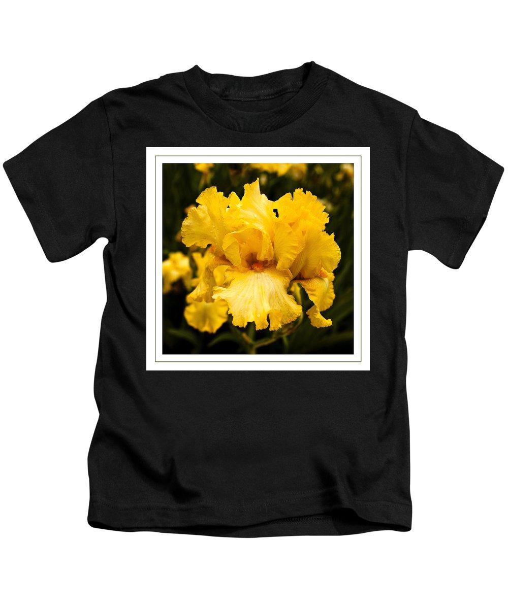Bright Bright Yellow Iris Photographs Kids T-Shirt featuring the photograph Bright Bright Spring Yellow Iris Flower Fine Art Photography Print by Jerry Cowart