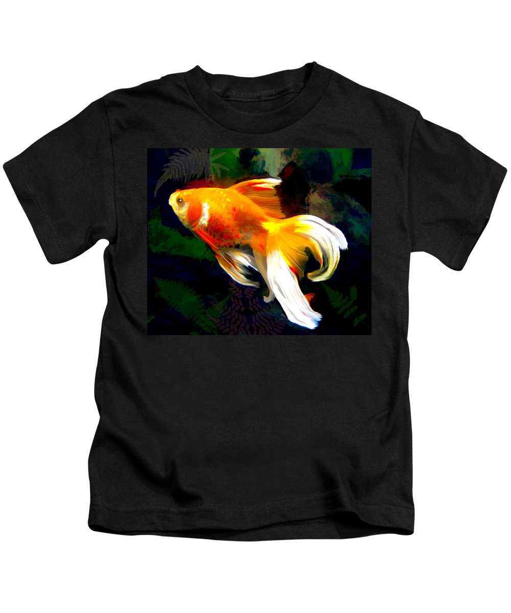 Fish Kids T-Shirt featuring the painting Bright Golden Fish In Dark Pond by Elaine Plesser