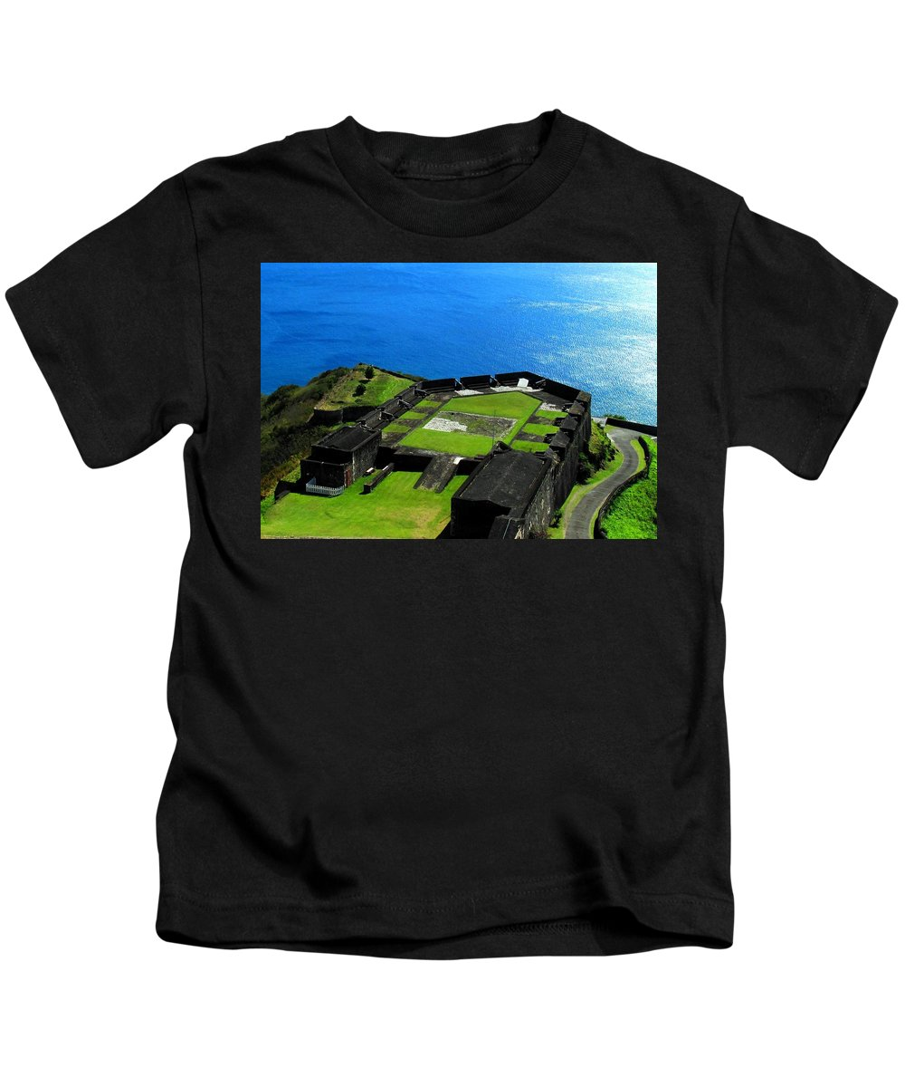 Brimstone Kids T-Shirt featuring the photograph Brimstone Fortress St Kitts by Ian MacDonald