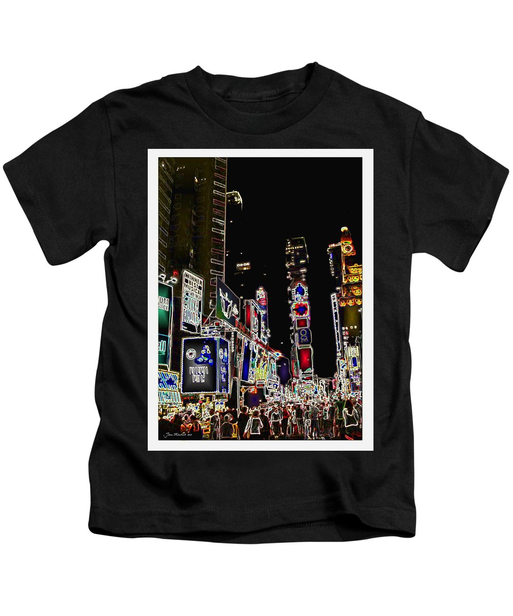 Broadway Kids T-Shirt featuring the digital art Broadway by Joan Minchak