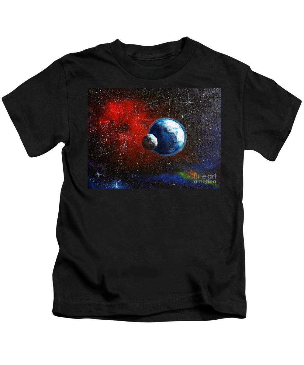 Astro Kids T-Shirt featuring the painting Broken Moon by Murphy Elliott