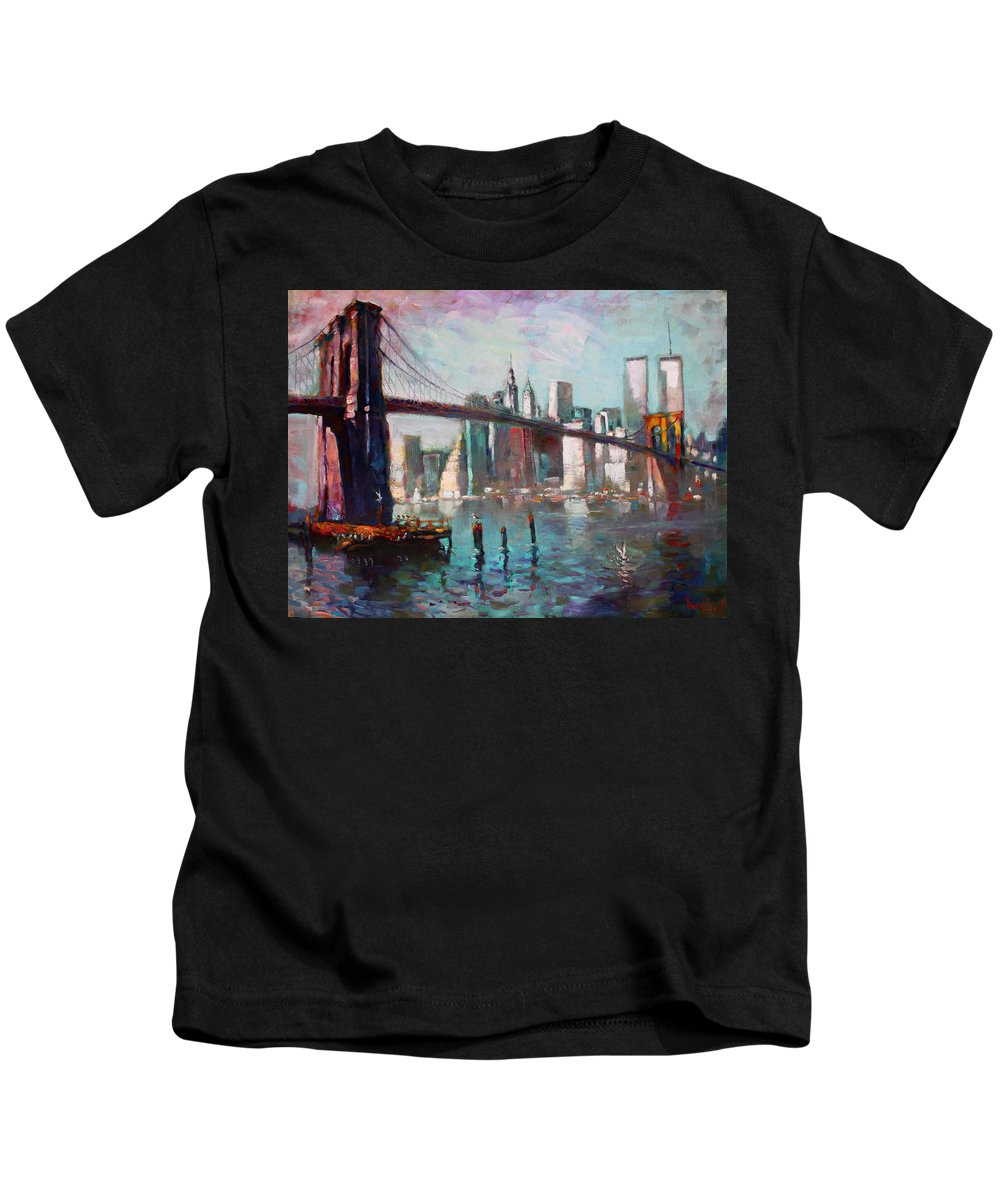 Brooklyn Bridge Kids T-Shirt featuring the painting Brooklyn Bridge And Twin Towers by Ylli Haruni