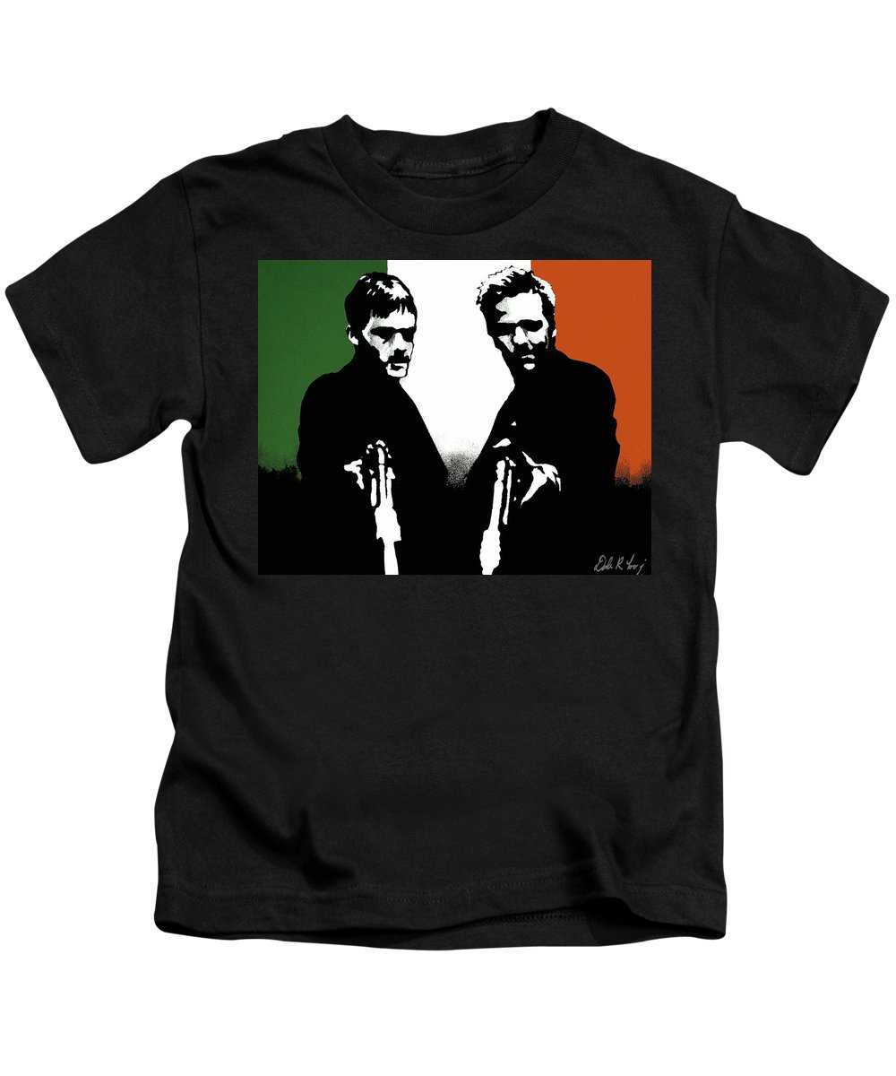 Boondock Saints Kids T-Shirt featuring the painting Brothers Killers And Saints by Dale Loos Jr