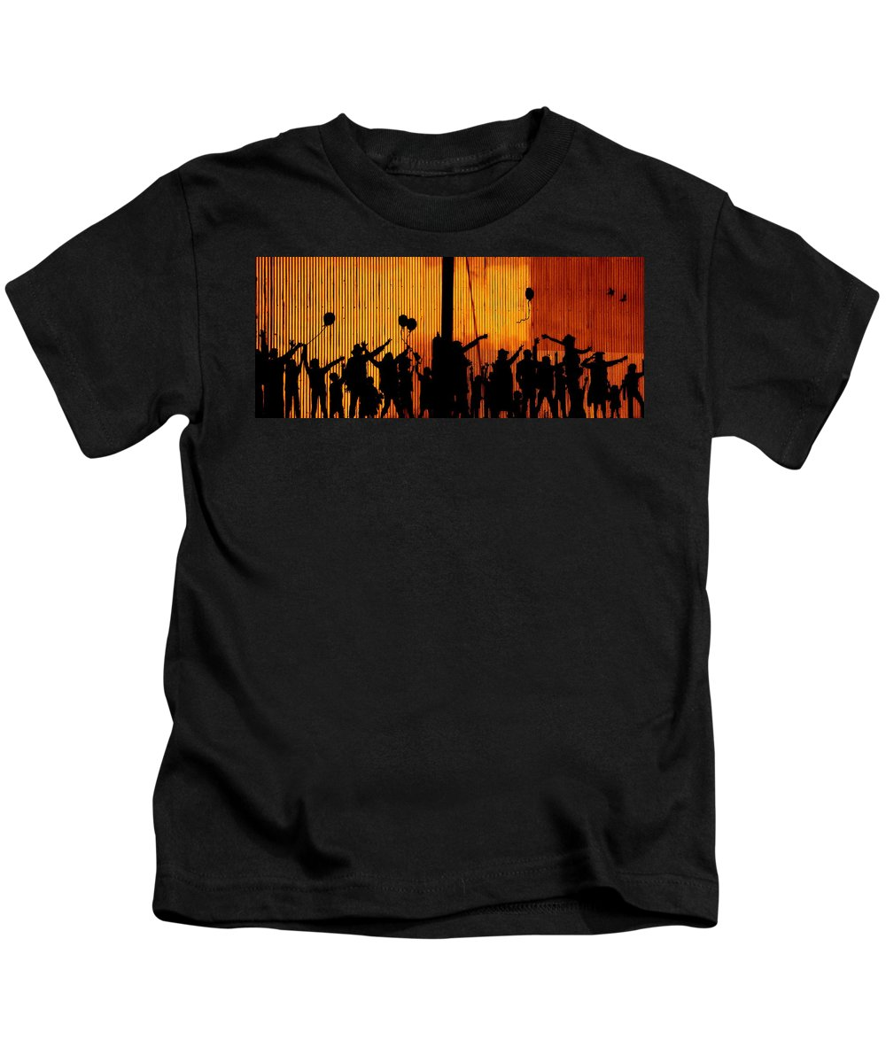 Tin Kids T-Shirt featuring the photograph Building Silhouettes In Color by Sue McElligott
