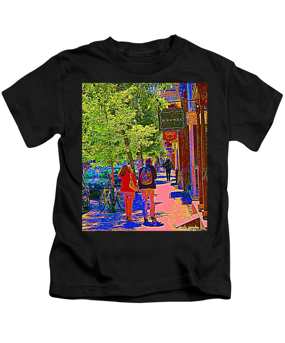 Montreal Kids T-Shirt featuring the painting Buk And Nola Gift Shop Decor Boutique Rue Laurier Art Of Montreal Street Scene Carole Spandau by Carole Spandau