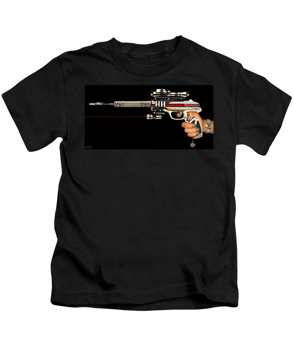 Gun Kids T-Shirt featuring the digital art Bullet Bag by Jean raphael Fischer