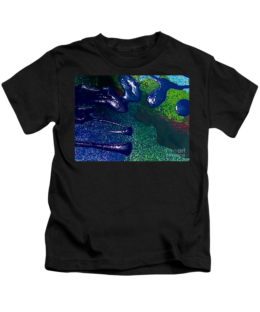 Abstract Kids T-Shirt featuring the painting Bungle by Mark Herman