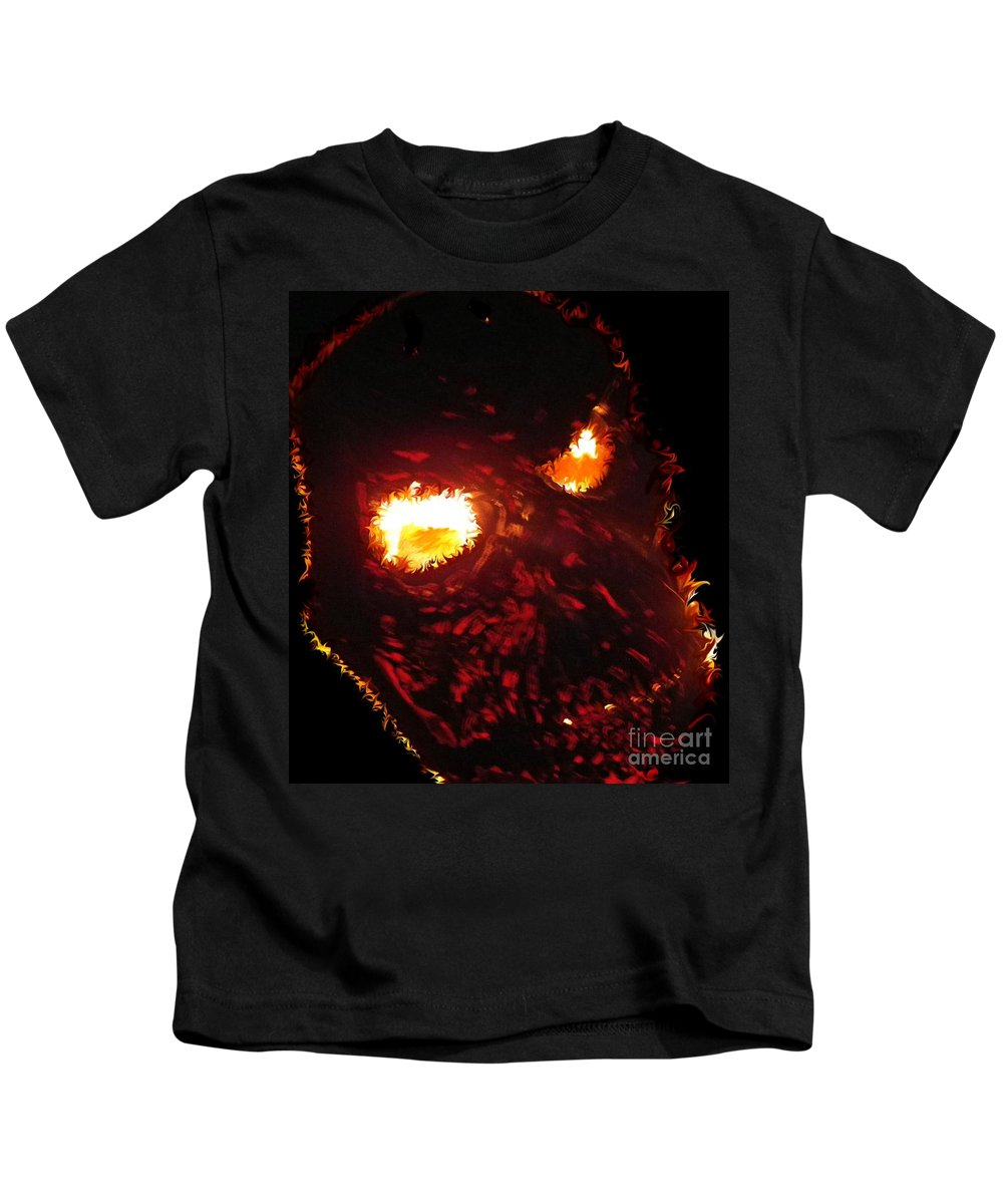 Fire Kids T-Shirt featuring the photograph Burning Skull by Charleen Treasures